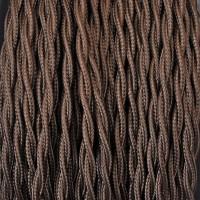 Cavo Elettrico 2X o 3X 10 metri Treccia in Tessuto Colore Marrone