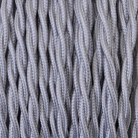 Electrical Twisted Cable 2X o 3X 5 meters in Fabric Silver