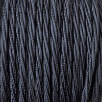 Electrical Twisted Cable 2X o 3X 5 meters in Fabric Black