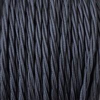 Cavo Elettrico 2X o 3X 5 metri treccia in Tessuto Colore Nero