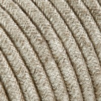 Electrical Round Cable 2X o 3X 10 meters in Fabric Canvas Beige