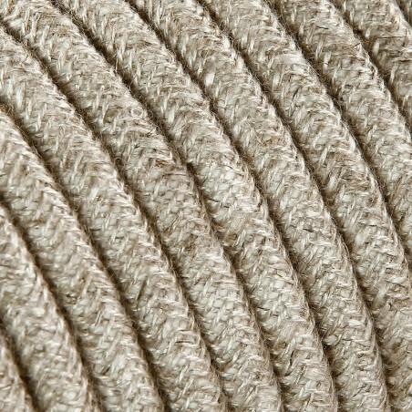 Cavo Elettrico 2X o 3X 10 metri Tondo in Tessuto Colore Tela Beige