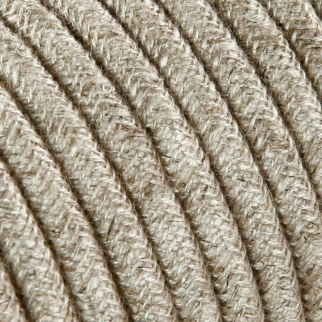 Electrical Round Cable 2X o 3X 5 meters in Fabric Canvas Beige