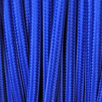 Cavo Elettrico 2X o 3X 5 metri Tondo in Tessuto Colore Blu