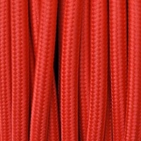 Electrical Round Cable 2X o 3X 5 meters in Fabric Red