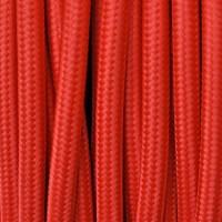 Cavo Elettrico 2X o 3X 5 metri tondo in Tessuto Colore Rosso