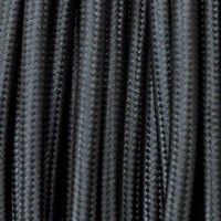 Cavo in tessuto 2x o 3x 5 metri tondo in tessuto colore nero