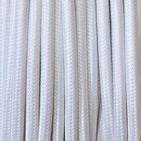 Cavo in tessuto 2x o 3x 5 metri tondo in tessuto colore bianco