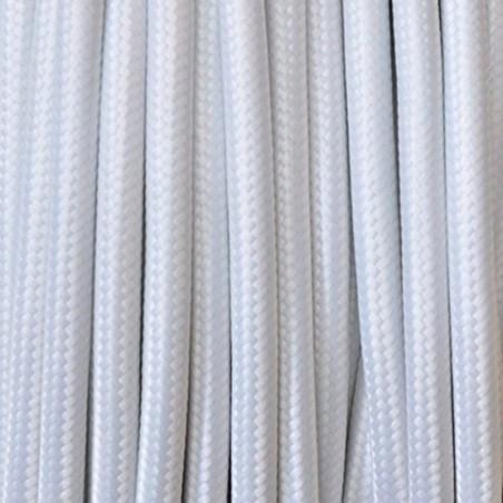 Cavo in tessuto 2x o 3x 10 metri tondo in tessuto colore bianco