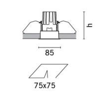 MA03.001 iGuzzini Deep Laser spotlight Recessed Square 50W Halogen GU10 White