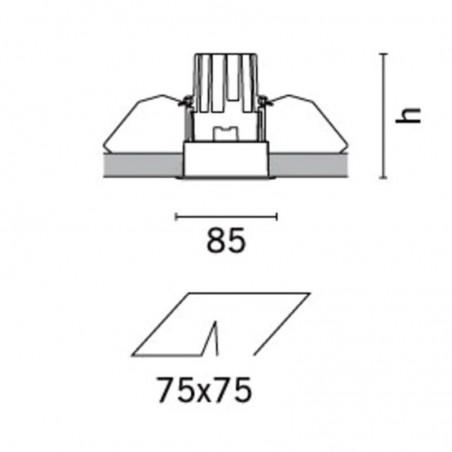 iGuzzini MA03.001 Deep Laser Faretto Incasso Quadrato 50W Bianco Gu10 Alogena