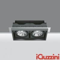 IGuzzini Double Downlight Deep Frame Minimal Black Recessed Adjustable