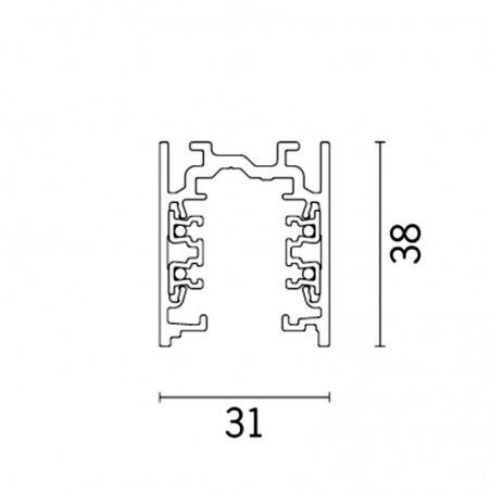 iGuzzini 6772.012 Binario Elettrificato in Alluminio 2 Metri 31x38