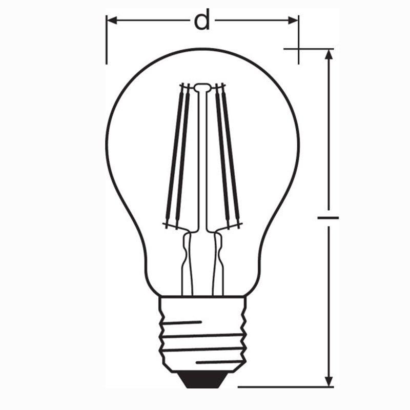 osram led parathom classic a60 e27 7w-60w 2700k 806lm lampadina