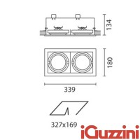 IGuzzini 8879 Frame 2 recessed lights lights 2 x G53 gray