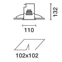 iGuzzini 2689 Deep Frame White Frame and Black Square Recessed Adjustable Spotlight