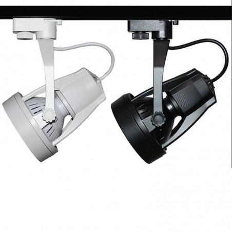 Proiettore Orientabile E27 PAR30 LED per Binario Trifase Bianco