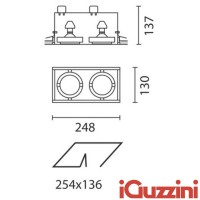 IGuzzini 8819 Frame two recessed lights indoor downlight 2x50W