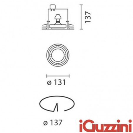 IGuzzini 8815 Frame Recessed downlight one lamp cylindrical