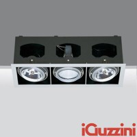 IGuzzini 4251 Frame 3 luci 3 X G12 faro incasso lampada cornice grigio