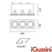 IGuzzini 4251 Frame 3 lights 3 X G12 HALIDE spot lights lamp built recessed