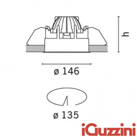 M975 iGuzzini Deep Laser spotlight fixed white round recessed 75w halogen