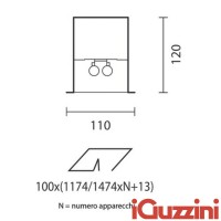 IGuzzini 5826 Lineup recessed linear internal 2x54w
