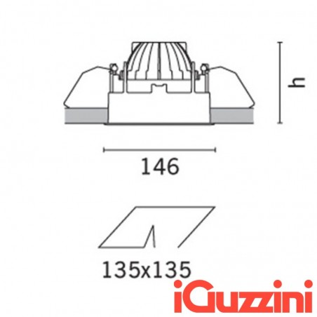 IGuzzini MA37 deep white laser 12W LED spotlight Recessed Square
