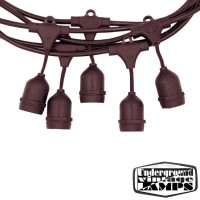 Brown String Light 10 Lamp holder with descent cable E27 12.5 meter IP65 Outdoor Extendable waterproof