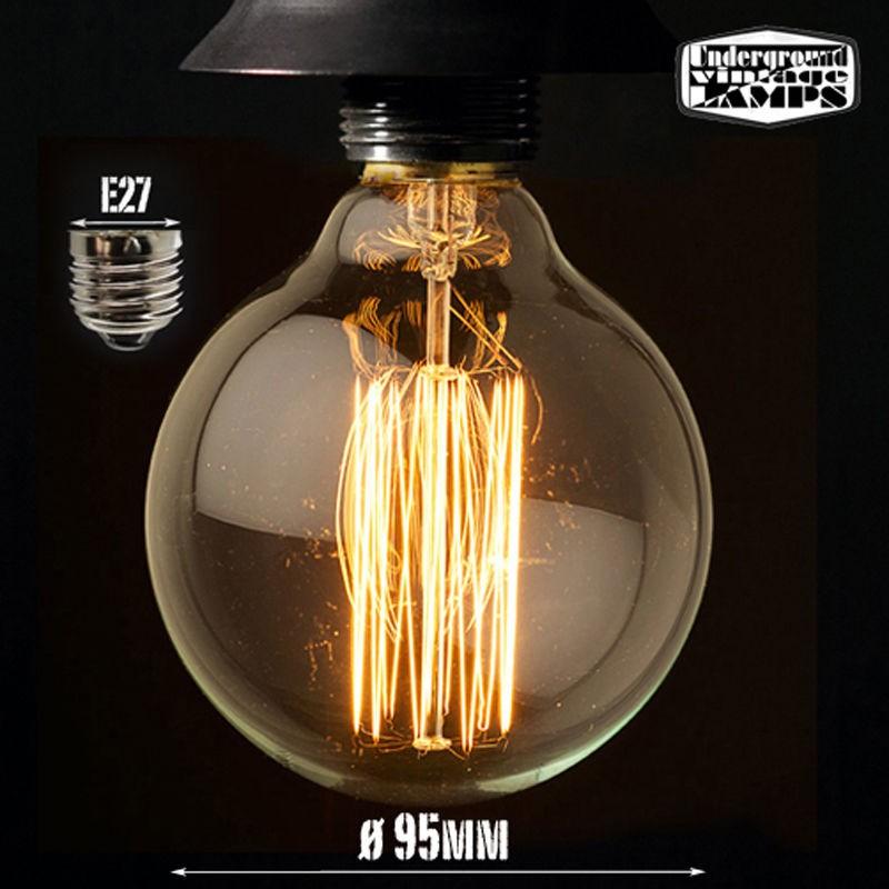 lampadina vintage g95 25w globo e27 filamento carbonio - Diffusione Luce srl