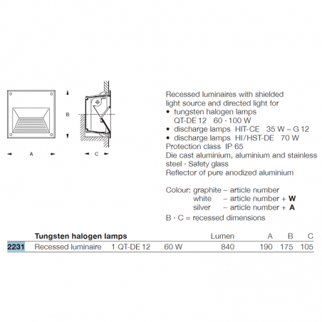 Zumtobel BEGA 2231W Outdoor Wall Spotlight 60W White IP65