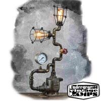 Lampada da Tavolo HEAD DRAGON 2 x E27 Edison Vintage stile Industriale fabbricata in Bali