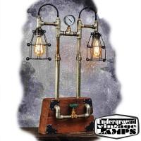 Lampada da Tavolo IRON WOODEN BOX 2 x E27 Edison Vintage stile Industriale fabbricata in Bali