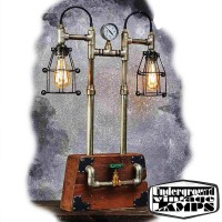 Table Lamp IRON WOODEN BOX 2 x E27 Edison Vintage Industrial style made in Bali