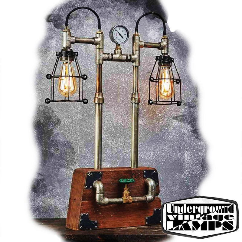 Table Lamp Iron Wooden Box 2 X E27 Edison Vintage Industrial Style