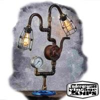 Lampada da Tavolo OIL PUMP SWAN 2 x E27 Edison Vintage stile Industriale fabbricata in Bali