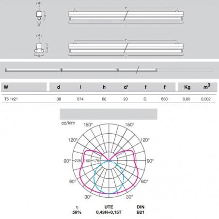 Metalmek T5 1x21W Reglette Ceiling for Fluorescent Lamp White