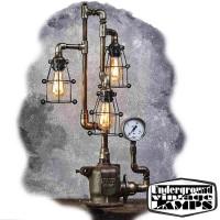 Lampada da Tavolo HEAD DRAGON 3 x E27 Edison Vintage stile Industriale fabbricata in Bali