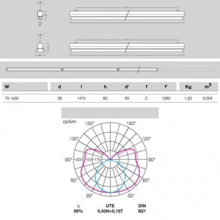Metalmek T5 1x35W Reglette Ceiling for Fluorescent Lamp White