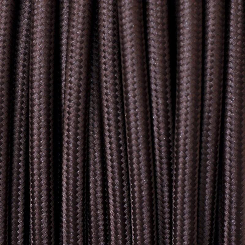 Cavo Elettrico 2X o 3X 5 metri Tondo in Tessuto Colore Marrone