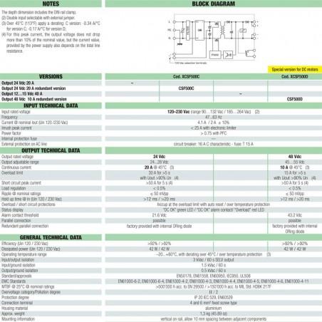 Cabur Alimentatore Switching 1-phase 120-230 Vac 10A 48Vdc 240W CSF500D