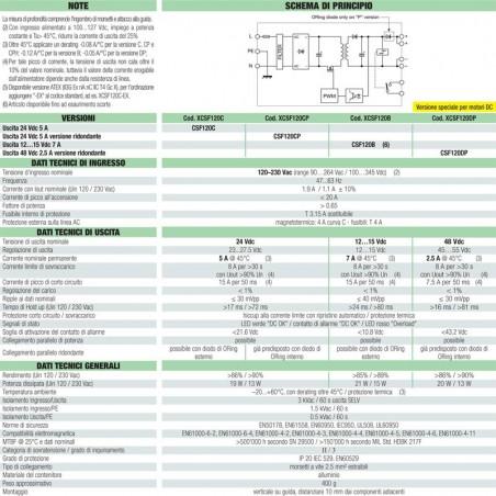Cabur Power Supply Switching 1-phase 120-230 Vac 7A 12-15Vdc 120W CSF120B