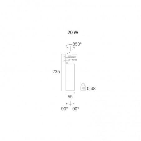PAN Slim LED 20W Proiettore da Binario Nero 220V Eurostandard