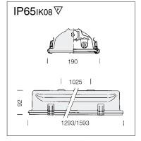 Disano Fosnova Forma T8 994 2x58W G13 Plafoniera Acciaio/Vetro IP65