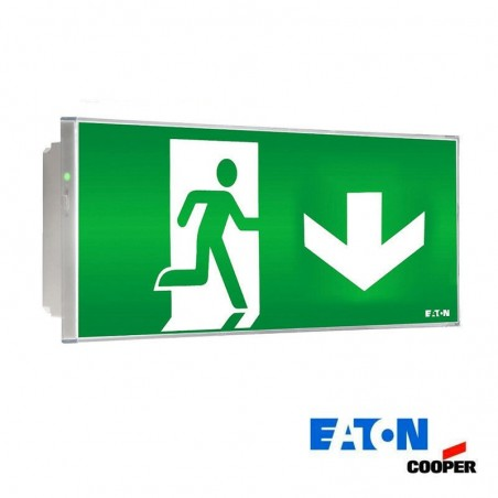 Ceiling led emergency exit down arrow cooper 150lm 11w knows and if autotest