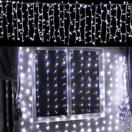 New Lamps string curtain Light 96 LED 3,30 meters cool white with Flash warm Light for indoor and outdoor