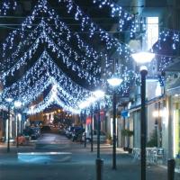 New Lamps Tenda Luminosa Natale 288 LED 3.30 metri 230V IN 24V OUT 20W Luce Fredda Effetto Cascata con Controller