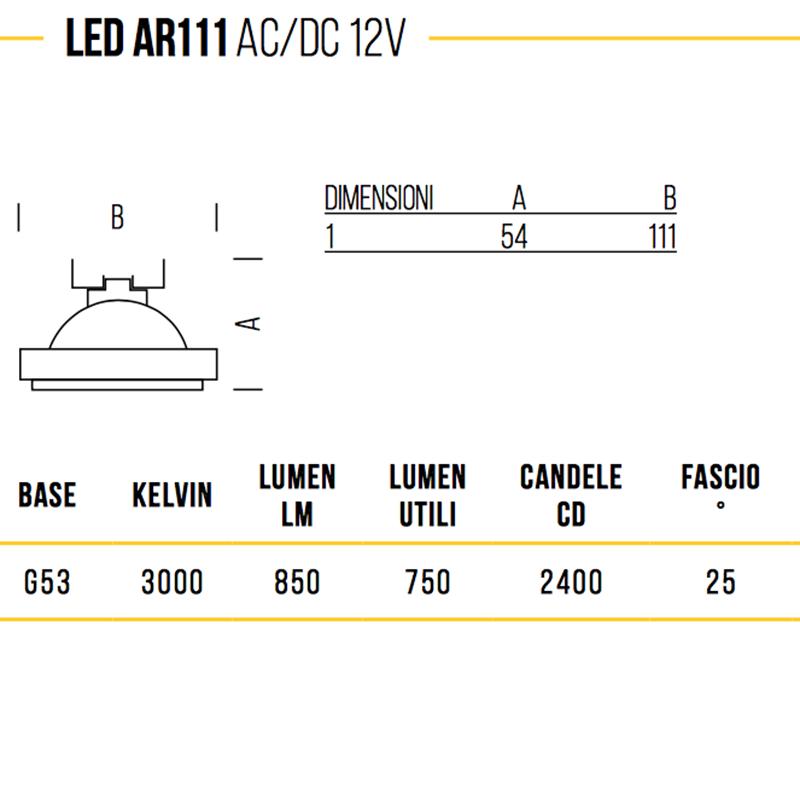 Bot Lighting Shot AR111 LED G53 11W-77W 12V 3000K 850lm bulb