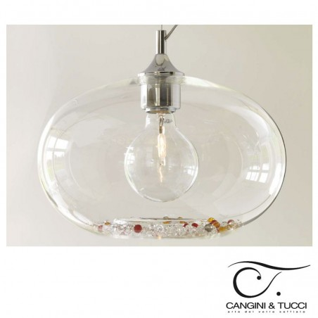 Cangini & Tucci GIG1193.1L Ginevra Suspension Ceiling Lamp Blown Glass and Strass