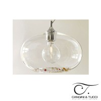 Cangini & Tucci 1193.1L Ginevra Suspension Ceiling Lamp Blown Glass and Strass